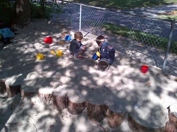 Kids (Andy and Jonathan) Playing in the Sandbox