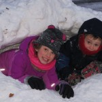 Mari and Elliot in Their Snow Fort
