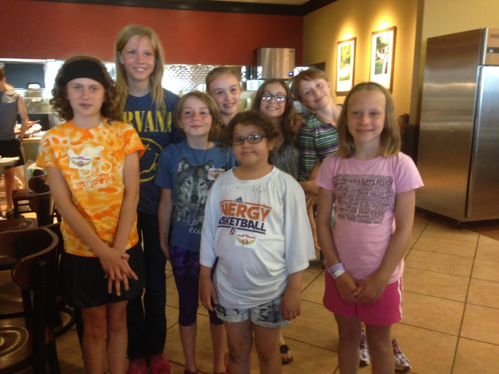 A few girls from Mari's team, at Jason's Deli.